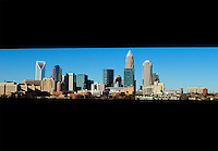 Skyline photography of the Charlotte NC downtown center city. Photo taken in December 2012 from the East side toward Charlotte. Image is part of a series of Charlotte skyline photographs taken over several years, from more than a dozen angles, and with different weather scenes. Images are available for licensing and as framed art.