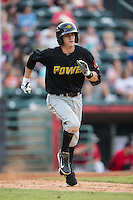 Kevin Newman (5) of the West Virginia Power hustles down the first base line against the Hickory Crawdads at L.P. Frans Stadium on August 15, 2015 in Hickory, North Carolina.  The Power defeated the Crawdads 9-0.  (Brian Westerholt/Four Seam Images)