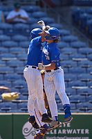 Memphis Tigers Alec Trela (29) celebrates with Hunter Goodman (35) after hitting a home run during a game against the East Carolina Pirates on May 25, 2021 at BayCare Ballpark in Clearwater, Florida.  (Mike Janes/Four Seam Images)