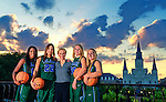 Sunset photoshoot with the seniors of Tulane Women's Basketball at Jackson Square and along the Mississippi River.