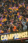 With confetti falling, fans of FC Barcelona wave flags and celebrate their team's the La Liga and Copa del Rey  after the La Liga 2017-18 match between FC Barcelona and Real Madrid at Camp Nou on May 06 2018 in Barcelona, Spain. Photo by Vicens Gimenez / Power Sport Images