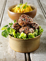 Kofta kebabs with pilau rice