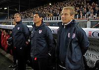 Martin Vasquez (m, USA), Coach Juergen Klinsmann  (r,USA), during the friendly match Italy against USA at the Stadium Luigi Ferraris at Genoa Italy on february the 29th, 2012.
