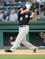 Infielder Travis Ozga (15) of the Savannah Sand Gnats in Game 1 of the South Atlantic League Southern Division Championship against the Greenville Drive on Sept. 8, 2010, at Fluor Field at the West End in Greenville, S.C. Photo by: Tom Priddy/Four Seam Images