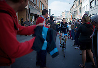 Chris Froome (GBR/SKY) to the start<br /> <br /> 79th Flèche Wallonne 2015