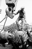 ROMANIA, Av. Kiseleff, Bucharest, 09.1991..The Soviet liberator is removed from his pedestal - Sos. Kiseleff, Bucharest, September 1991..© Andrei Pandele / EST&OST