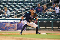 Northwest Arkansas Naturals first baseman Mauricio Ramos (3) waits to receive a throw during a game against the Midland RockHounds on May 27, 2017 at Arvest Ballpark in Springdale, Arkansas.  NW Arkansas defeated Midland 3-2.  (Mike Janes/Four Seam Images)
