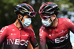 Egan Bernal (COL) and Chris Froome (GBR) Team Ineos wait for the start of Stage 1 of Criterium du Dauphine 2020, running 218.5km from Clermont-Ferrand to Saint-Christo-en-Jarez, France. 12th August 2020.<br /> Picture: ASO/Alex Broadway | Cyclefile<br /> All photos usage must carry mandatory copyright credit (© Cyclefile | ASO/Alex Broadway)