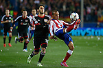 Atletico de Madrid´s Miranda and Bayer 04 Leverkusen´s Calhanoglu during the UEFA Champions League round of 16 second leg match between Atletico de Madrid and Bayer 04 Leverkusen at Vicente Calderon stadium in Madrid, Spain. March 17, 2015. (ALTERPHOTOS/Victor Blanco)