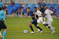 SAN JOSE, CA - SEPTEMBER 5: Chris Wondolowski #8 of the San Jose Earthquakes is defended by Collen Warner #32 of the Colorado Rapids during a game between Colorado Rapids and San Jose Earthquakes at Earthquakes Stadium on September 5, 2020 in San Jose, California.