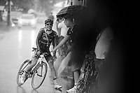 Angelo Tulik (FRA/Europcar) arriving at the team bus in a rain storm after finishing the stage<br /> <br /> stage 17: Digne-les-Bains - Pra Loup (161km)<br /> 2015 Tour de France