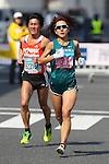 Feb. 27, 2011 - Tokyo, Japan - Yoko Shibui of Japan powers her way to finish line at the Tokyo Marathon. (Photo by Daiju Kitamura/AFLO SPORT)