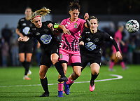 Woluwe's Jana Simons (8) pictured in a fight for the ball with forward Ylenia Carabott of Sporting Charleroi during a female soccer game between Sporting Charleroi and FC Femina White Star Woluwe on the second matchday of the 2020 - 2021 season of Belgian Scooore Women s SuperLeague , friday 4 th of September 2020  in Marcinelle , Belgium . PHOTO SPORTPIX.BE | SPP | DAVID CATRY