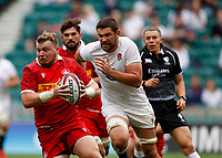 10th July 2021; Twickenham, London, England; International Rugby Union England versus Canada; Andrew Quattrin of Canada is tracked by Charlie Ewels of England