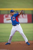 AZL Cubs 2 third baseman Grant Fennell (19) throws to first base during an Arizona League game against the AZL Rangers at Sloan Park on July 7, 2018 in Mesa, Arizona. AZL Rangers defeated AZL Cubs 2 11-2. (Zachary Lucy/Four Seam Images)