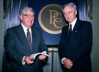May1988 File Photo - Frank Knowles (L) and Paul Desmarais attend Power Corporation of Canada's annual meeting held at the Ritz-Carlton in Montreal, Canada.<br /> <br /> Desmarais passed away October 10, 2013. He was 86 years old<br />  - PHOTO D'ARCHIVE :  Agence Quebec Presse