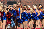 SMU Cheerleaders in action during the game between the East Caroline Pirates  and the SMU Mustangs at the Gerald J. Ford Stadium in Fort Worth, Texas.
