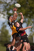 Hemasi Tufui and Kaleb Foote compete for the ball at lineout time. Counties Manukau Premier Club rugby game between Te Kauwhata and Onewhero, played at Te Kauwhata on Saturday April 16th 2016. Onewhero won the game 37 - 0 after leading 13 - 0 at Halftime. Photo by Richard Spranger.