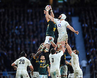Dave Attwood of England interferes with the lineout jump of Bakkies Botha of South Africa during the QBE International match between England and South Africa at Twickenham Stadium on Saturday 15th November 2014 (Photo by Rob Munro)