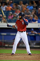 Syracuse Chiefs right fielder Jose Marmolejos (6) at bat during a game against the Buffalo Bisons on September 2, 2018 at NBT Bank Stadium in Syracuse, New York.  Syracuse defeated Buffalo 4-3.  (Mike Janes/Four Seam Images)