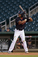 AZL Indians 1 second baseman Richard Palacios (13) at bat during an Arizona League game against the AZL White Sox at Goodyear Ballpark on June 20, 2018 in Goodyear, Arizona. AZL Indians 1 defeated AZL White Sox 8-7. (Zachary Lucy/Four Seam Images)