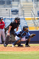 Umpire Chad Westlake and FCL Rays catcher Mario Fernandez (59) during a game against the FCL Twins on July 20, 2021 at Charlotte Sports Park in Port Charlotte, Florida.  (Mike Janes/Four Seam Images)