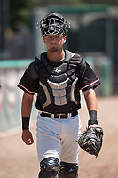 Visalia Rawhide catcher Dominic Miroglio (27) walks to the dugout before a California League game against the Stockton Ports at Visalia Recreation Ballpark on May 9, 2018 in Visalia, California. Stockton defeated Visalia 4-2. (Zachary Lucy/Four Seam Images)