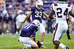 TCU Horned Frogs place kicker Jaden Oberkrom (33) in action during the game between the Samford Bulldogs and the TCU Horned Frogs at the Amon G. Carter Stadium in Fort Worth, Texas.  TCU leads Stamford 24 to 7 at halftime.