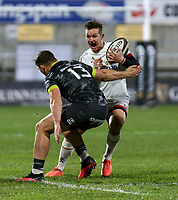 2nd January 2021   Ulster vs Munster <br /> <br /> Billy Burns is tackled by Dan Goggin during the PRO14 Round 10 clash between Ulster Rugby and Munster Rugby at the Kingspan Stadium, Ravenhill Park, Belfast, Northern Ireland. Photo by John Dickson/Dicksondigital
