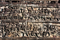 Cambodia, Angkor Thom.  Battle Scenes in Wall near the Elephant Terrace.