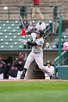 Scranton Wilkes-Barre Railriders left fielder Ben Gamel (6) bats against the Rochester Red Wings on May 1, 2016 at Frontier Field in Rochester, New York. Red Wings won 1-0.  (Christopher Cecere/Four Seam Images)
