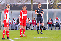referee Simon Bourdeaud Hui starting the female soccer game between  AA Gent Ladies and Standard Femina de Liege on the first matchday of play-off 1 of the  2020 - 2021 season of Belgian Scooore Womens Super League , saturday 3 th of April 2021  in Oostakker , Belgium . PHOTO SPORTPIX.BE | SPP | STIJN AUDOOREN