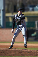 Bryant Bulldogs starting pitcher Tyler Schoff (29) in action against the High Point Panthers at Williard Stadium on February 21, 2021 in  Winston-Salem, North Carolina. The Panthers defeated the Bulldogs 3-2. (Brian Westerholt/Four Seam Images)