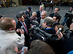 Owner Mike Repole is surrounded by media after his 1/9 favorite Uncle Mo finished third in the Wood Memorial Stakes at Aqueduct Race Track in Ozone Park, New York on April 9, 2011.