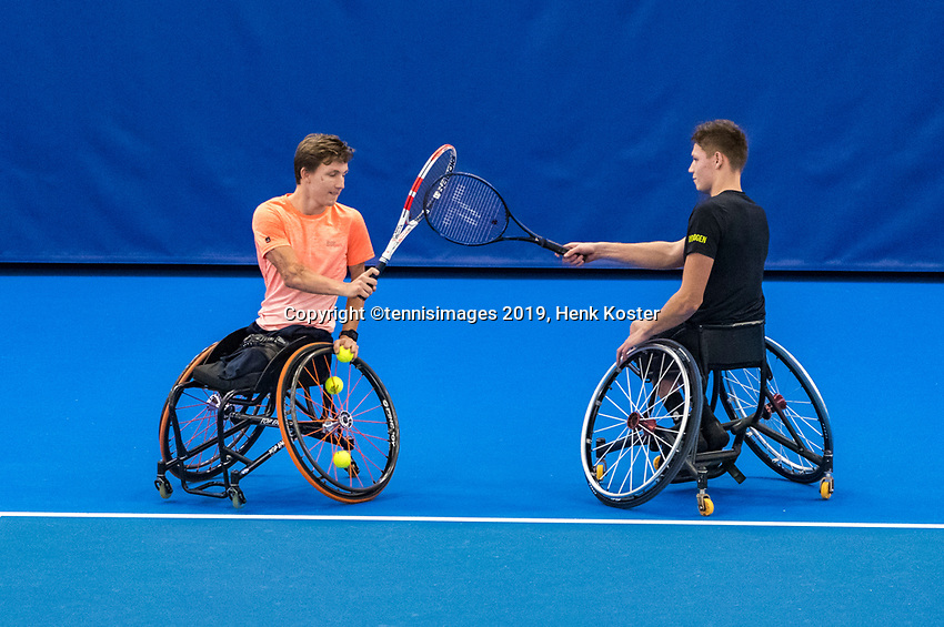 Amstelveen, Netherlands, 8  December, 2020, National Tennis Center, NTC, NKR, National  Indoor Wheelchair Tennis Championships, Men's doubles :  Ruben Spaargaren and Niels Vink (NED)<br /> Photo: Henk Koster/tennisimages.com
