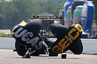 Aug. 18, 2013; Brainerd, MN, USA: A rear look of the parachutes of NHRA top fuel dragster driver Morgan Lucas during the Lucas Oil Nationals at Brainerd International Raceway. Mandatory Credit: Mark J. Rebilas-
