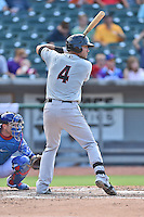 Birmingham Barons third baseman Nicky Delmonico (4) awaits a pitch during a game against the Tennessee Smokies on August 2, 2015 in Kodak, Tennessee. The Smokies defeated the Barons 5-2. (Tony Farlow/Four Seam Images)