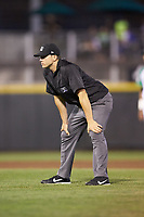 Base umpire Steven Hodgins handles the calls on the bases during the Midwest League game between the Bowling Green Hot Rods and the Dayton Dragons at Fifth Third Field on June 8, 2018 in Dayton, Ohio. The Hot Rods defeated the Dragons 11-4.  (Brian Westerholt/Four Seam Images)