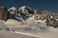 Moonlight over second highest peak of Southern Alps, Mount Tasman 3497m in centre with Mt. Lendenfeld 3194m and Mount Haast 3114m on left and Torres Peak 3160m on right, Westland Tai Poutini National Park, West Coast, UNESCO World Heritage, New Zealand, NZ