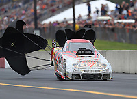 Sep 14, 2019; Mohnton, PA, USA; NHRA top alcohol funny car driver D.J. Cox during qualifying for the Reading Nationals at Maple Grove Raceway. Mandatory Credit: Mark J. Rebilas-USA TODAY Sports