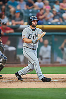 Shane Peterson (18) of the El Paso Chihuahuas bats against the Salt Lake Bees at Smith's Ballpark on August 14, 2018 in Salt Lake City, Utah. El Paso defeated Salt Lake 6-3. (Stephen Smith/Four Seam Images)