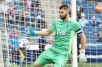 KANSAS CITY, KS - MAY 16: Maxime Crepeau #16 Vancouver Whitecaps with the ball during a game between Vancouver Whitecaps and Sporting Kansas City at Children's Mercy Park on May 16, 2021 in Kansas City, Kansas.