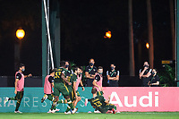 LAKE BUENA VISTA, FL - AUGUST 11: Portland Thorns celebrating a goal during a game between Orlando City SC and Portland Timbers at ESPN Wide World of Sports on August 11, 2020 in Lake Buena Vista, Florida.