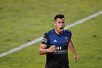 SAN JOSE, CA - OCTOBER 03: Andy Rios #25 of the San Jose Earthquakes celebrates scoring during a game between Los Angeles Galaxy and San Jose Earthquakes at Earthquakes Stadium on October 03, 2020 in San Jose, California.