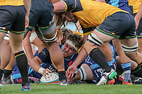 Jordan Brodley of London Scottish scores a try during the Greene King IPA Championship match between London Scottish Football Club and Ealing Trailfinders at Richmond Athletic Ground, Richmond, United Kingdom on 8 September 2018. Photo by David Horn.
