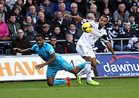 Wednesday, 19 January 2014<br /> Pictured: Wayne Routledge of Swansea (R) against Danny Rose of Tottenham (L)<br /> Re: Barclay's Premier League, Swansea City FC v Tottenham Hotspur at the Liberty Stadium, south Wales.