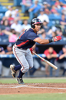 Rome Braves designated hitter Carlos Castro (51) swings at a pitch during a game against the Asheville Tourists at McCormick Field on August 22, 2016 in Asheville, North Carolina. The Braves defeated the Tourists 10-3. (Tony Farlow/Four Seam Images)
