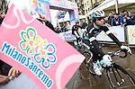 Mark Cavendish (GBR) Etixx-Quick Step arrives to sign on for the start of the 106th edition of the Milan-San Remo 2015 cycle race, Milan, Italy. 22nd March 2015. <br /> Photo: ANSA/Daniel Dal Zennaro/www.newsfile.ie