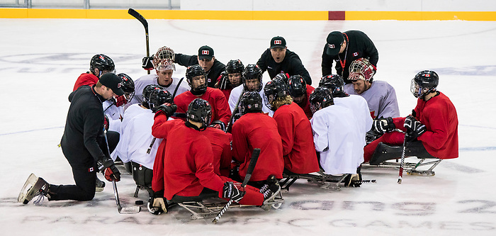 PyeongChang 8/3/2018 - as Canada's sledge hockey team practices ahead of the start of competition at the Gangneung practice venue during the 2018 Winter Paralympic Games in Pyeongchang, Korea. Photo: Dave Holland/Canadian Paralympic Committee