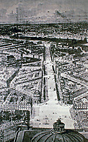 The Avenue de l'Opéra was created from 1864 to 1879 as part of Haussmann's renovation of Paris. It is situated in the center of the city, running northwest from the Louvre to the Palais Garnier, the primary opera house of Paris